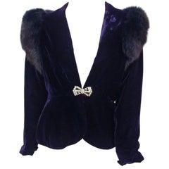 Victor Costa Fox Trim Blue Velvet Jacket, 1980s