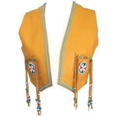 Handmade Hippie Leather Vest with Glass Beads, 1960s