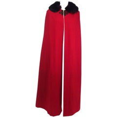 Antique Red Wool Cape with Black Fox Fur Trim