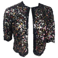 Rainbow Sequin Black Mesh Cropped Bolero Jacket, 1930s