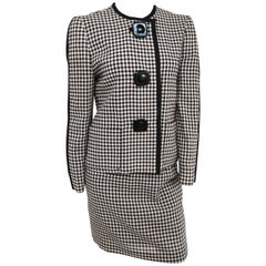 Black and White Gingham Mod Skirt Suit, 1960s