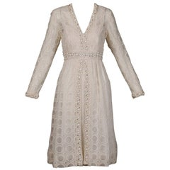 1960s Vintage Off White Eyelit Lace Dress with Prong Set Rhinestones + Beads
