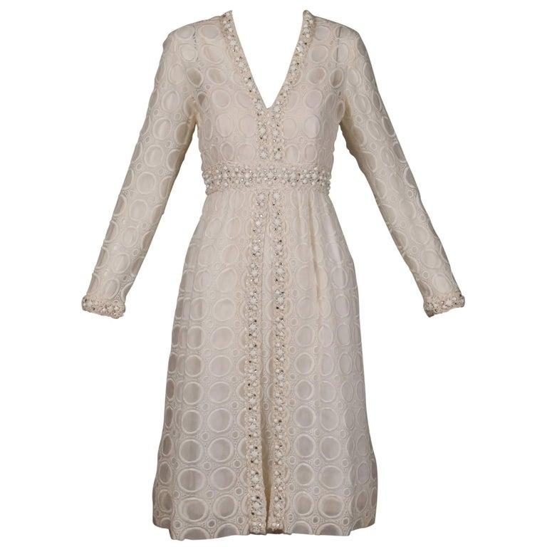 1960s Vintage Off White Eyelit Lace Dress with Prong Set Rhinestones + Beads