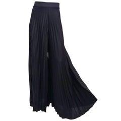 Black Pleated Wide Leg Pants, 1970s