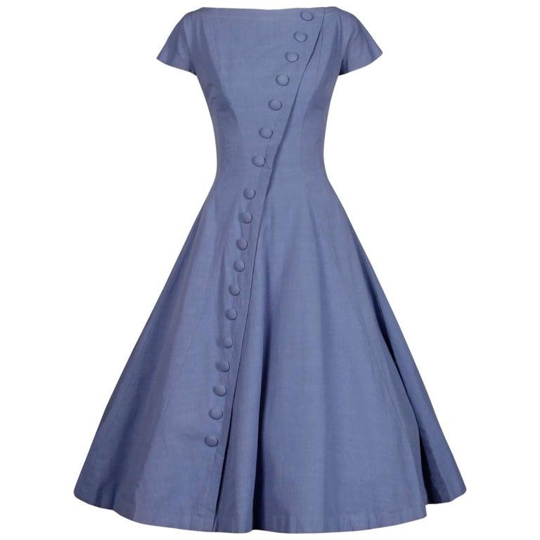 1950s Suzy Perette Vintage Purple Silk Asymmetrical Full Sweep Cocktail Dress