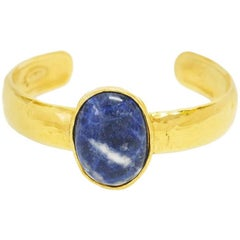 Chanel Vintage Blue Marble Stone Open Cuff Bangle Bracelet