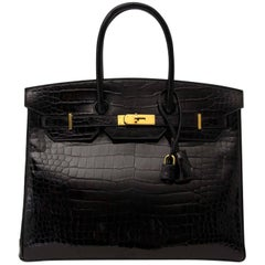Hermès Birkin 35cm Crocodile Porosus Black GHW Interior Rouge H
