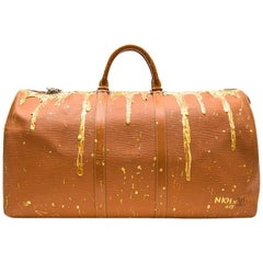 LOUIS VUITTON 'Keepall' Customized Bag in Cipengo Gold Epi Leather