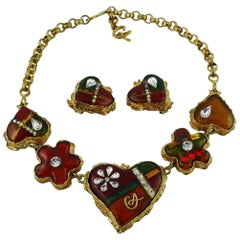 Christian Lacroix Vintage Multicolored Heart Necklace and Earrings Set