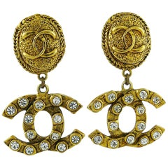 Chanel Vintage Gold Toned Jewelled CC Dangling Earrings