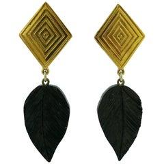 Yves Saint Laurent YSL Vintage Wood Leaf Dangling Earrings