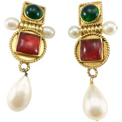 Chanel Large Faux Pearl and Red and Green Gripoix Earrings, 1970s