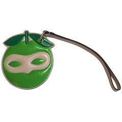 DELVAUX Masked Keyholder in Green and Pink Calskin Leather