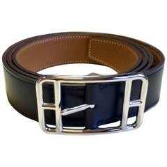 HERMES Reversible Belt in Black Box and Gold Taurillon Clémence Leather Size 11à