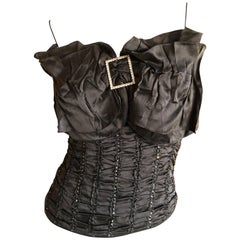 John Galliano Vintage Crystal Embellished Black Silk Top with Exaggerated Bow