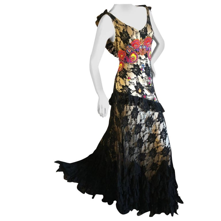 John Galliano Vintage Embroidered Ruffled Lace Flamenco Evening Dress