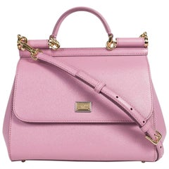 Dolce&Gabbana Women's Pink Leather Small Miss Sicily Shoulder Bag