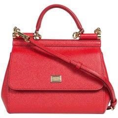 Dolce&Gabbana Women's Red Leather Mini Miss Sicily Shoulder Bag