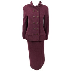 Chanel Burgundy Wool Bouclé Skirt Suit, 1998