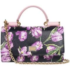 Dolce&Gabbana Women's Black Floral Small Wallet Phone Shoulder Bag