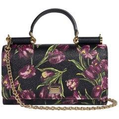 Dolce&Gabbana Women's Black Floral Small Von Wallet Shoulder Bag