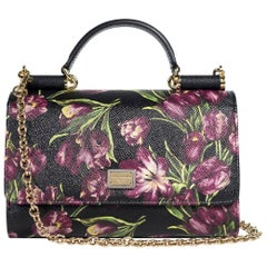 Dolce&Gabbana Women's Black Floral Mini Von Wallet Shoulder Bag