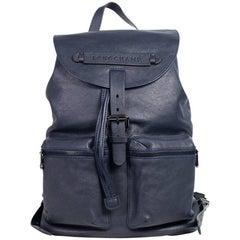 Longchamp Men's Solid Midnight Blue Leather Medium 3D Backpack