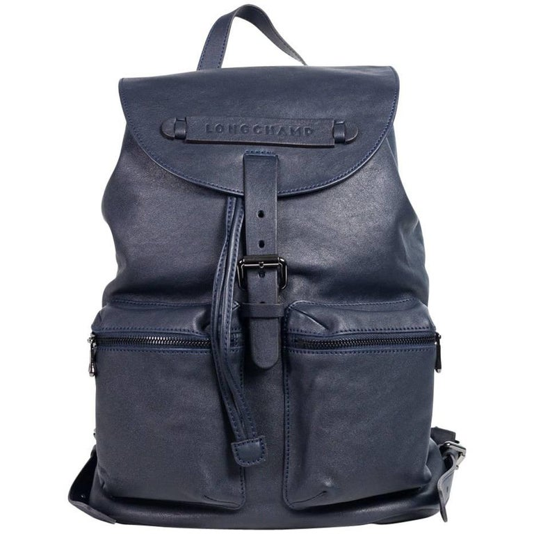 a1373731a847 Longchamp Men s Solid Midnight Blue Leather Medium 3D Backpack For Sale at  1stdibs