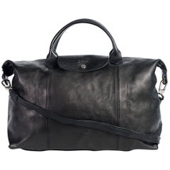 Longchamp Black Leather Le Pliage Cuir Large Top Handle Bag