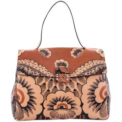 Valentino Floral Top Handle Bag Printed Leather Large