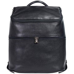 Longchamp Men's Solid Black Leather Le Foulonne Backpack