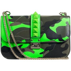 Valentino Women's Neon Green Camouflage Leather Rocklock Shoulder Bag