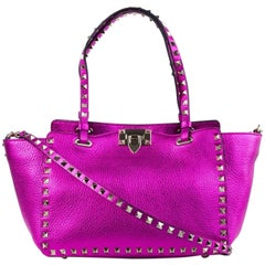 Valentino Women's Small Metallic Pink Rockstud Tote Bag