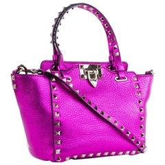Valentino Women's Metallic Pink Mini Rockstud Trapeze Tote Bag