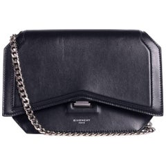 Givenchy Women's Black Leather Chain Strap Bow Cut Crossbody Bag