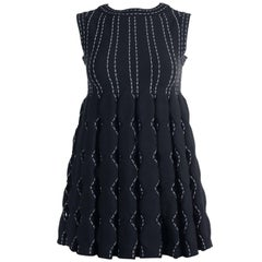 Alaia Women's Black Wool Blend Contrast Stitched Sleeveless Top