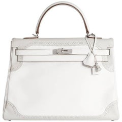Hermes White & Gris Perle Swift Leather Ghillie Kelly 35cm Retourne
