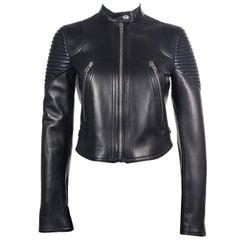 Givenchy Womens Black Ribbed Panel Lambskin Biker Jacket