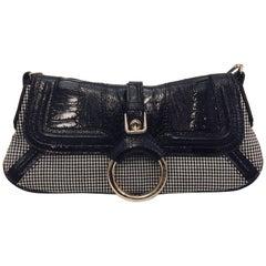 Dolce & Gabbana Black and White Houdstooth Wool Shoulder Bag w/Black Lizard Flap