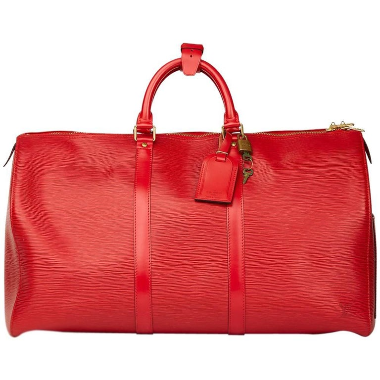 ab3b4bb88fc Louis Vuitton Red Epi Leather Vintage Keepall 55