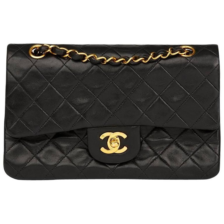 Chanel Black Quilted Lambskin Vintage Leather Classic Double Flap Bag  For Sale