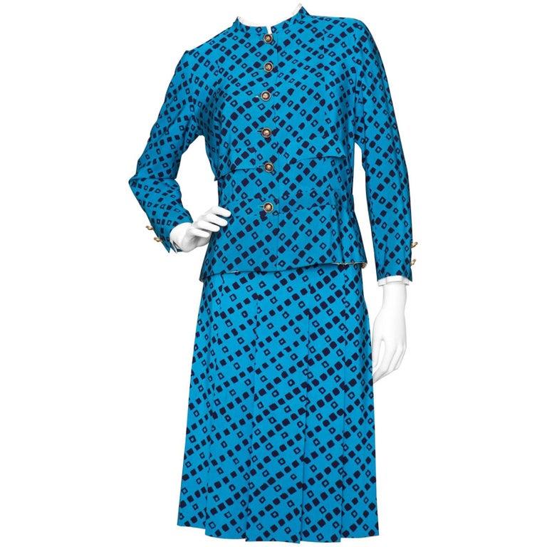A 1960s vintage chanel haute couture blue silk skirt suit for 1960 s haute couture