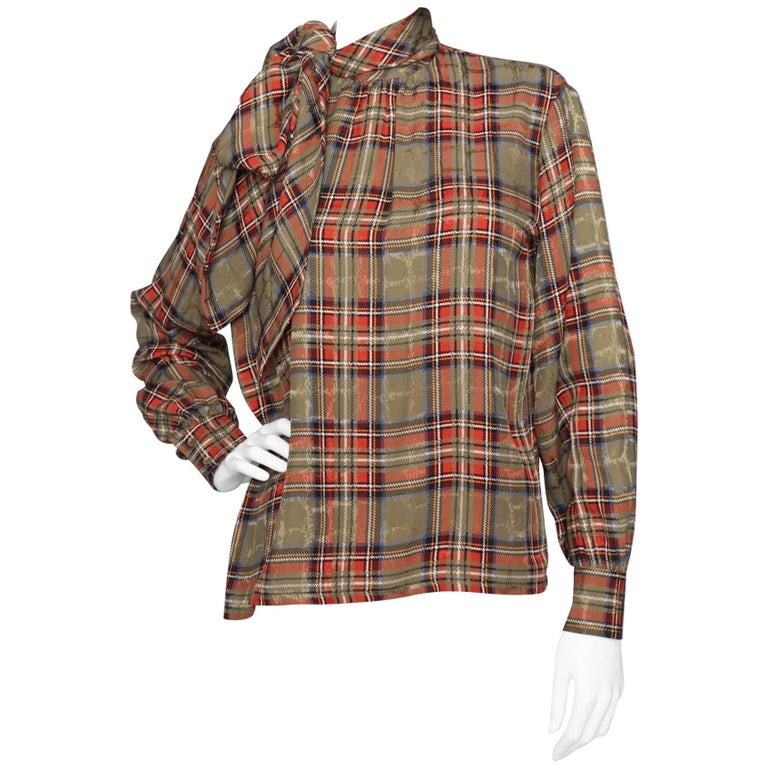 ff63775b2d688 A 1970s Vintage Yves Saint Laurent Rive Gauche Tartan Silk Blouse For Sale