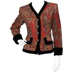 A 1980s Vintage Yves Saint Laurent Paisly Wool Blazer W. Black Velvet Trim