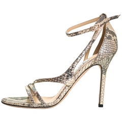 Jimmy Choo Shimmer Snakeprint Strappy Sandals Sz 38.5 with Box