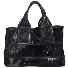 Donna Karan Black Metallic Ponyhair & Suede Tote Bag