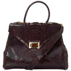 Kara Ross Burgundy Python Snakeskin Trinity Lady Bag Sathel