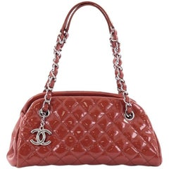 Chanel Just Mademoiselle Handbag Quilted Patent Small