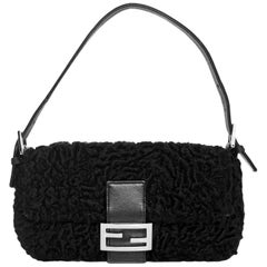 Fendi Black Curly Lamb Baguette Bag