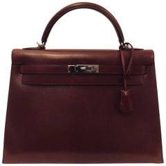 2000 Hermès Kelly Sellier 32 Bordeaux Box Calf PHW